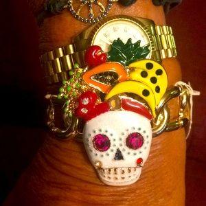 Betsey Johnson Rio sugar skull with fruit bracelet